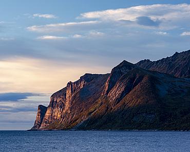 Evening light on Devil's Teeth Mountains, Senja, Norway, Scandinavia, Europe