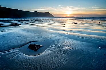 Rhossili Bay beach at low tide, at sunset, Rhossili, Gower Peninsula, Swansea, Wales, United Kingdom, Europe