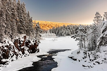Patoniva River and snow covered winter landscape, Oulanka National Park, Kuusamo, Finland