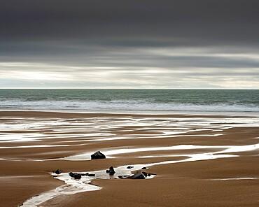 Mewslade Bay at low tide, Gower Peninsula, Swansea, Wales, United Kingdom, Europe