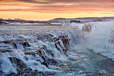 Gullfoss waterfall at dawn, Iceland, Polar Regions