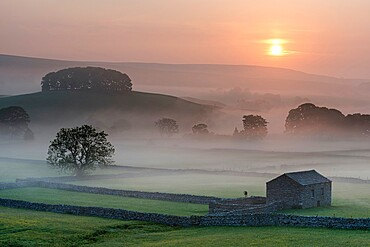 Fields and barn at sunrise, looking northeast from Hawes, Yorkshire Dales National Park, Yorkshire, England, United Kingdom, Europe
