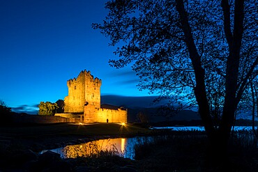 Ross Castle at dusk, Killarney, County Kerry, Munster, Republic of Ireland, Europe