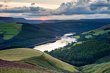 View of Ladybower Reservoir from Whinstone Lee Tor, at sunset, Peak District National Park, Derbyshire, England, United Kingdom, Europe