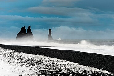 Sea stacks, Reynisfjara beach, Iceland, Polar Regions