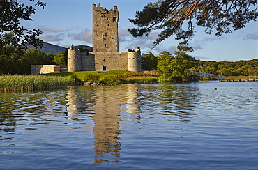 Ross Castle, on the shore of Lough Leane, Killarney National Park, Killarney, County Kerry, Munster, Republic of Ireland, Europe