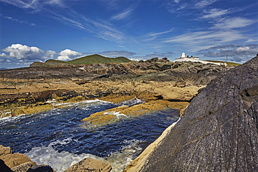 A view of Valentia Island lighthouse, Valentia Island, Skelligs Ring, Ring of Kerry, County Kerry, Munster, Republic of Ireland, Europe