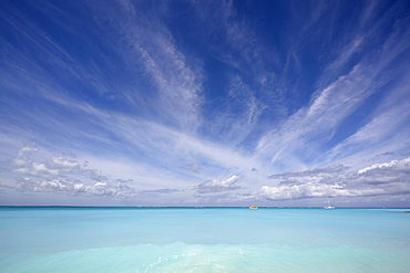 Sailing on the azure waters of Grace Bay, the most spectacular beach on Providenciales, Turks and Caicos, in the Caribbean, West Indies, Central America