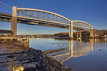 The Tamar Bridges, across the Hamoaze, estuary of the River Tamar, at Saltash, near Plymouth, Cornwall, England, United Kingdom, Europe