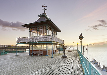 A Victorian pavilion on the restored Clevedon Pier, seen at dusk, Clevedon, North Somerset, England, United Kingdom, Europe