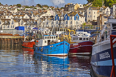Fishing boats tied up in Brixham harbour, the south coast's busiest fishing port, in Torbay, on Devon's south coast, Brixham, Devon, England, United Kingdom, Europe