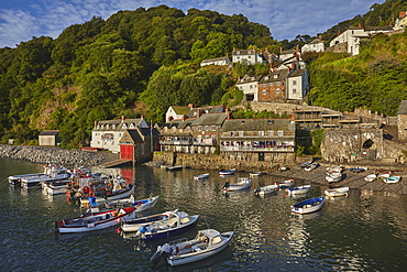 The harbour at an iconic and archetypal fishing village, Clovelly, on the north coast of Devon, England, United Kingdom, Europe