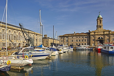 Royal William Yard, once a Royal Navy dockyard, now a place of yachts and restaurants, Plymouth, Devon, England, United Kingdom, Europe