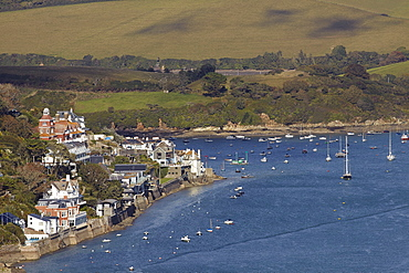 A view of the beautiful Kingsbridge estuary, with the village of Salcombe to the left, on the south coast of Devon, England, United Kingdom, Europe
