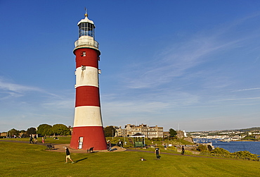 An historic monument at an historic place, Smeaton's Tower, on Plymouth Hoe, in the city of Plymouth, Devon, England, United Kingdom, Europe