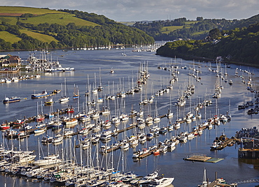 A magnificent view along the estuary of the River Dart, looking inland from the village of Kingswear, near Dartmouth, Devon, England, United Kingdom, Europe