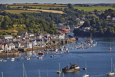 A view of Fowey beside the estuary of the Fowey River, seen from Polruan, on the opposite shore, on the south coast of Cornwall, England, United Kingdom, Europe