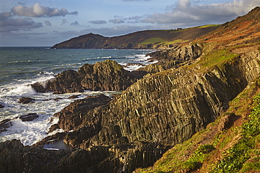 The rocky coast of Penlee Point, looking towards Rame Head and at the mouth of Plymouth Sound, east Cornwall, England, United Kingdom, Europe