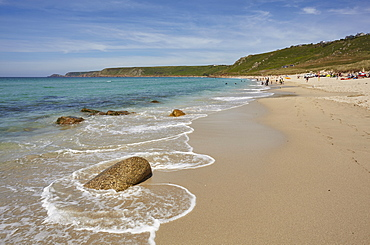 The huge beach at Whitesand Bay, at Sennen Cove, with Cape Cornwall in the distance, on the Atlantic coast of west Cornwall, England, United Kingdom, Europe