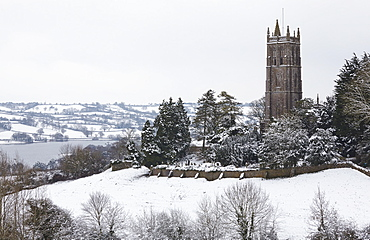 A wintry view of Blagdon Church, with Blagdon Lake in the background, Blagdon, Somerset, England, United Kingdom, Europe