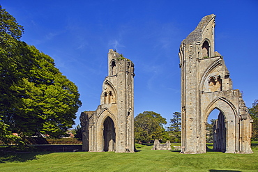 The ruins of the Great Church in the historic Glastonbury Abbey, Glastonbury, Somerset, England, United Kingdom, Europe
