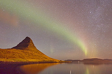 The Aurora Borealis (Northern Lights) seen in the night sky above Grundarfjordur, the Snaefellsnes peninsula, west Iceland, Polar Regions