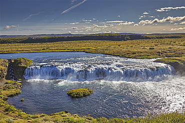 A foaming waterfall, Faxifoss Falls, near Geysir, southwest Iceland, Polar Regions