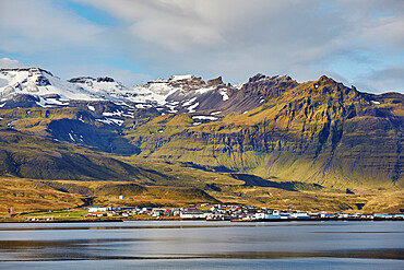 A classically rugged landscape overshadows the town of Grundarfjordur, on the Snaefellsnes peninsula, western Iceland.