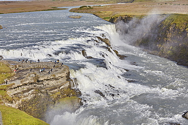 An iconic Icelandic landscape, Gullfoss Falls, on the southern edge of the rugged Highlands interior, Iceland, Polar Regions