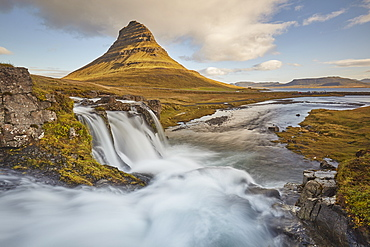 One of Iceland's iconic landscapes, Mount Kirkjufell and Kirkjufellsfoss Falls, near Grundarfjordur, Snaefellsnes peninsula, Iceland, Polar Regions