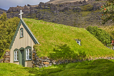 Historic Icelandic architecture: an 18th century church at Litla Hof, near Skaftafell, near the south coast of Iceland.