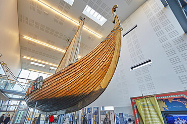 A replica Viking ship in the Viking Museum in Njardvik, near Keflavik, southwest Iceland, Polar Regions