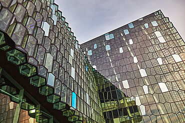 Geometric shapes in the windows of the very modern Harpa Concert Hall, in Reykjavik, southwest Iceland.