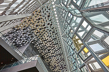 Geometical shapes in the internal architecture of the very modern Harpa Concert Hall, in Reykjavik, southwest Iceland.