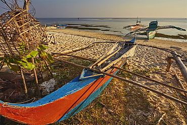 Fishing boats pulled up onto Paliton beach, Siquijor, Philippines, Southeast Asia, Asia