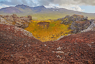 The Saxholl cinder cone and crater, in Snaefellsjokull National Park, on the Snaefellsnes peninsula, western Iceland, Polar Regions