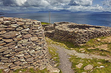 The Fahan group of beehive huts, on the southwest coast of the Dingle Peninsula, near Slea Head, County Kerry, Munster, Republic of Ireland, Europe