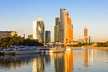 Skyscrapers in business center of Presnensky District, beside the Moscow River, Moscow, Russia, Europe