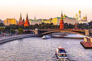 Moscow River and the Kremlin, UNESCO World Heritage Site, in early evening light, Moscow, Russia, Europe