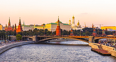 Moscow River and the Kremlin in early evening light, Moscow, Russia, Europe