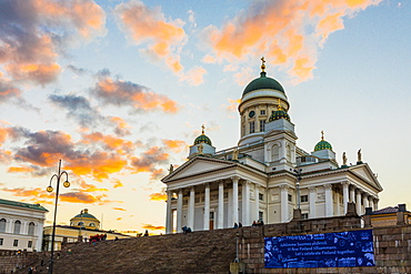 Helsinki Cathedral at sunset in Helsinki, Finland, Europe