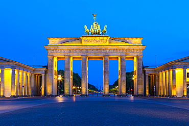 Brandenburg Gate at night in Berlin, Germany, Europe