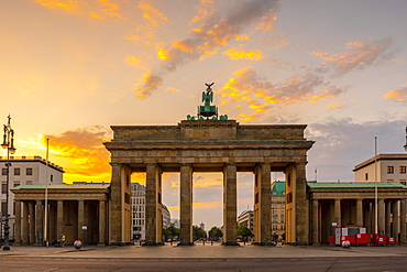 Brandenburg Gate at sunrise in Berlin, Germany, Europe