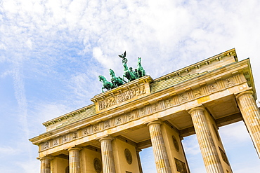 Low angle view of Brandenburg Gate in Berlin, Germany, Europe