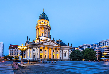 Deutscher Dom at sunset in Gendarmenmarkt square, Berlin, Germany, Europe