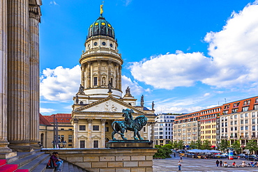 Statue in front of French Cathedral on Gendarmenmarkt square, Berlin, Germany, Europe