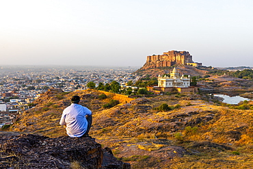 Jaswant Thada and Meherangarh Fort in Jodhpur, Rajasthan, India, Asia