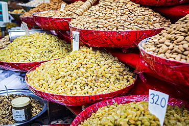 Close up of nuts and raisins for sale in New Delhi, India, Asia
