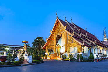 Wat Phra Singh (Gold Temple) at night, Chiang Mai, Northern Thailand, Thailand, Southeast Asia, Asia