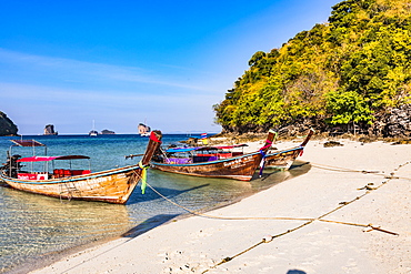 Longtail boats on Tup Island, Krabi Province, Thailand, Southeast Asia, Asia